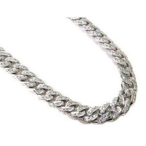 Jewelry - 14k White gold diamond mens Cuban 20 inch 6 mm cha